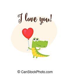 coeur, amour, formé, balloon, crocodile, tenue, vous, carte