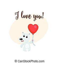 coeur, amour, formé, balloon, ours, tenue, vous, carte