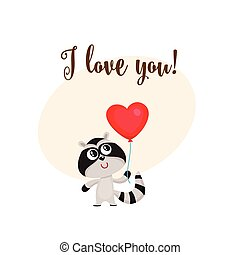 coeur, amour, formé, balloon, tenue, raton laveur, vous, carte