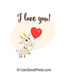 coeur, amour, formé, balloon, tenue, vous, chèvre, carte