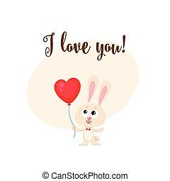coeur, amour, formé, balloon, tenue, vous, lapin, carte