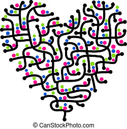 coeur, amour, forme, conception, labyrinthe, ton