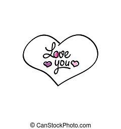 coeur, amour, hand-drawn, vecteur, vous, icône