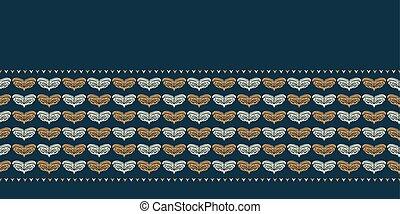 coeur, amour, hiver, or, ribbon., frontière, dessiné, pattern., main, stylisé, arrière-plan., feuillage vert, mariage, motif, bannière, noël