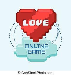 coeur, amour, jeux, relier, ligne, pixel