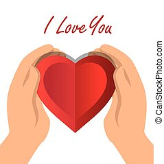 coeur, amour, main, vous, prise, ombre, icône