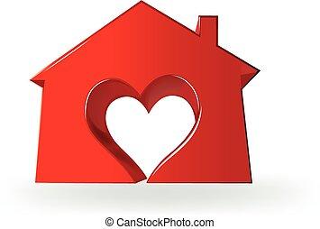 coeur, amour, maison, image, logo, 3d