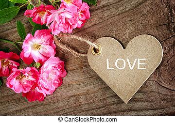 coeur, amour, message, carte, roses, formé