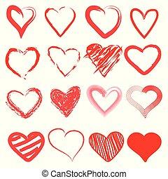 coeur, amour, mignon, griffonnage, main, drawn., dessin animé, rouges, icône