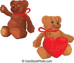 coeur, amour, mignon, ours peluche, rouges