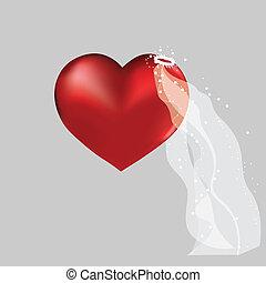 coeur, amour, mignon, valentin, arrière-plan., chapeau