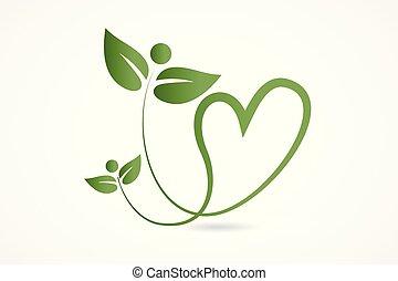 coeur, amour, nature, santé, pousse feuilles, logo