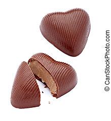 coeur, amour, nourriture, dessert, morceaux, doux, chocolat