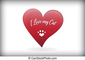 coeur, amour, patte, chat, vecteur, conception, logo