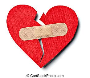 coeur, amour, relation, plâtre, cassé, bandage