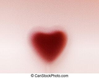 coeur, amour romantique, derrière, givré, forme, verre., fond, laiteux