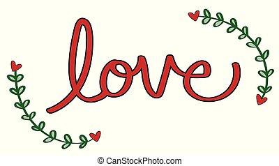 coeur, amour, rouges, lettrage