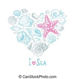 coeur, amour, seashells