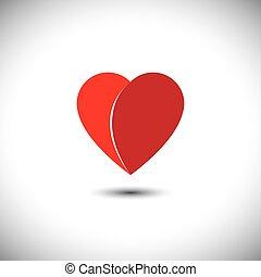 coeur, amour, simple, -, parties, vecteur, 2, rouges, icône