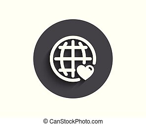 coeur, amour, simple, symbole., international, icon.