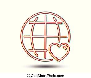 coeur, amour, symbole., international, ligne, icon.