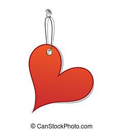 coeur, amour, symbole, valentin, étiquette, jour