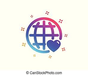 coeur, amour, symbole., vecteur, international, icon.