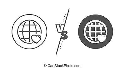 coeur, amour, symbole., vecteur, international, ligne, icon.