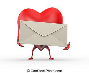 coeur, amour, tenue, envelopper, lettre, 3d