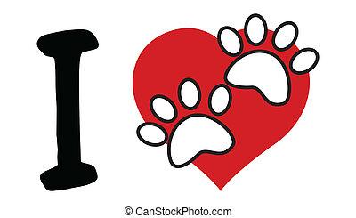coeur, amour, texte, rouges, patte