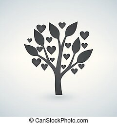 coeur, amour, valentines, arbre, feuilles, jour