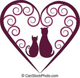 coeur, amour, vendange, chien, chat, logo
