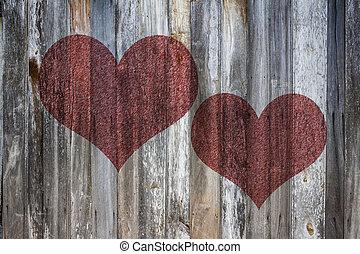 coeur, amour, vendange, texture, bois, fond