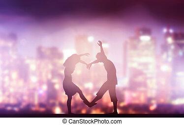 coeur, amour, ville, couple, forme., nuit, confection, heureux