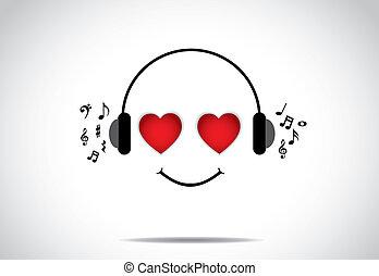 coeur, amour, yeux, persion, heureux, art, formé, -, grand, jeune, illustration, écoute, musique, vecteur, inhabituel, conception, concept