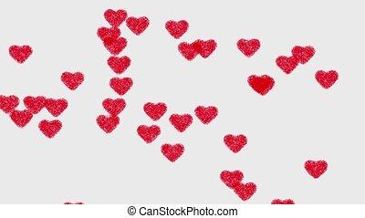 coeur, animation, arrière-plan rouge