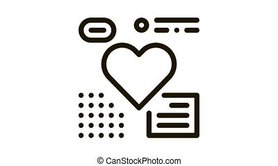 coeur, animation, couleur, examen, icône