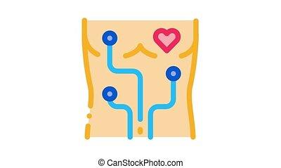 coeur, animation, examen, appareil, icône
