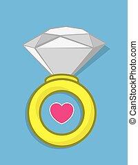 coeur, anneau diamant