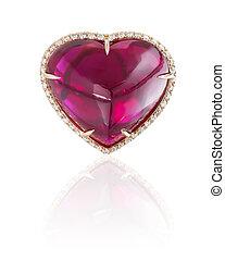 coeur, anneau, rubis, isolé, white.