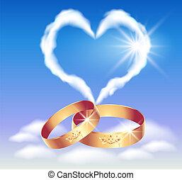 coeur, anneaux, carte, mariage