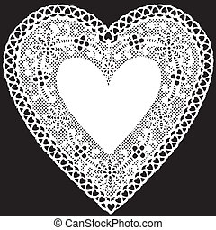 coeur, antiquité, dentelle, napperon, blanc