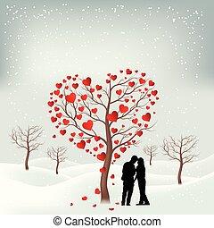 coeur, arbre., formé