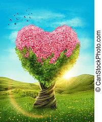 coeur, arbre, formé