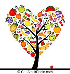 coeur, arbre, ton, fruit, conception, énergie, forme