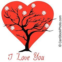 coeur, arbre, valentin