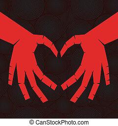coeur, arrière-plan., main, aimer, seamless