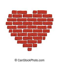 coeur, art, agrafe, forme, brique, rouges
