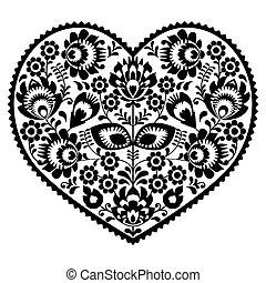 coeur, art, modèle, noir, polonais, folklorique