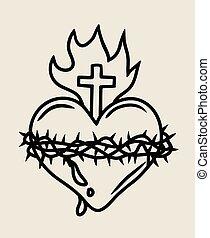 coeur, art, sacré, jésus